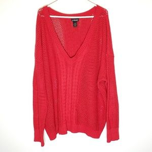 Lane Bryant Red Knit Sweater Size 26/28